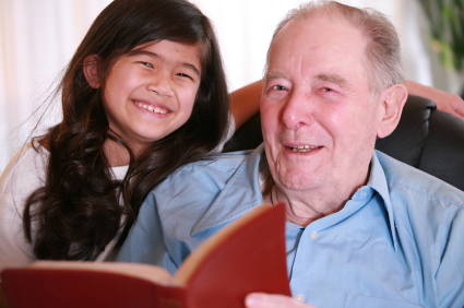grandpa & granddaughter read bible
