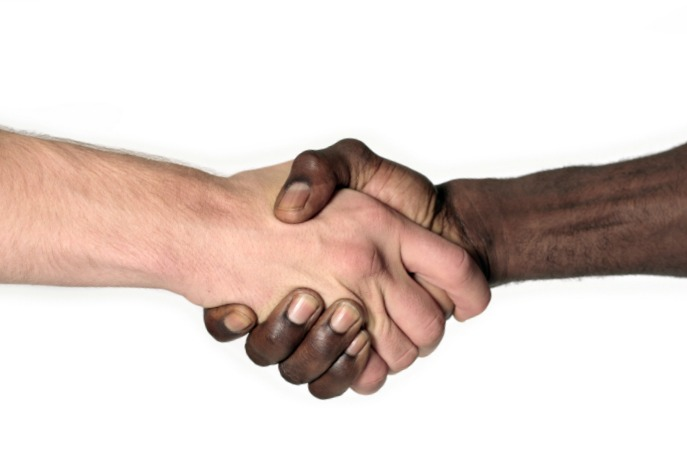 black white hands talk about race SM